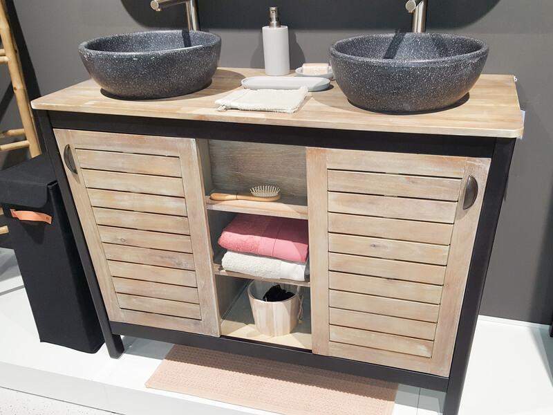 badkamermeubel met hout en staal